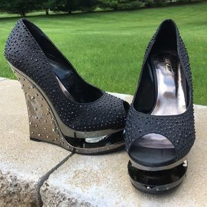 COPY - Bakers WILD PAIR black rhinestone platform…